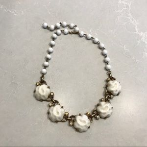 Vintage white & gold floral statement necklace